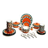 Caffeine Ceramic Handmade Orange Dinner Set With Tribal Colored - Set Of 37 Pieces