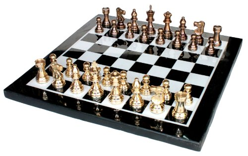 """15"""" X 15″ Collectible Marble Chess Game Board Set Brass Crafted Pieces (Delivery < 7 Days)"""