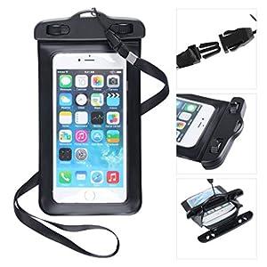 スマートフォン 防水 ケース for iphone6 /iphone6 plus iphone5/5s/5c Xperia Z / GALAXY S / HTC/ ARROWS /AQUOS Phone Waterproof お風呂 ブラック ストラップ付き 防水保護等級:IPX8 L サイズ