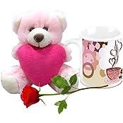 Valentine Gifts HomeSoGood Hot Coffee On Valentine's Day White Ceramic Coffee Mug With Teddy & Red Rose - 325 Ml