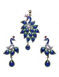 A.D Studded Peacock Shape Pendant & Earrings Set With Enamel Work