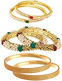 Jewels Galaxy Combo Of Broad Pearls And Gold Beads Bangles, Designer Pearl Bangles And Trendy Gold Plated Bangles...