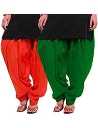 Women's ORANGE-GREEN Cotton Patiala Salwar