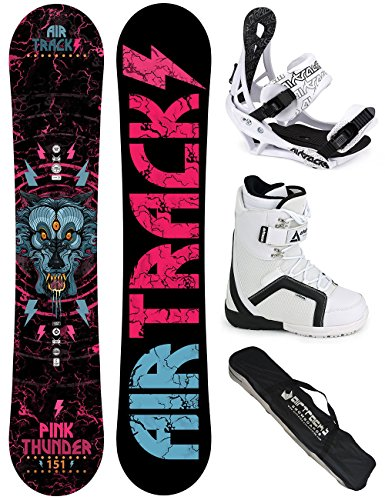 AIRTRACKS DAMEN SNOWBOARD KOMPLETT SET / PINK THUNDER BOARD ZERO ROCKER + BINDUNG SAVAGE W + BOOTS + SB BAG / 144 150 156 / cm
