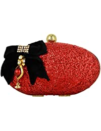 Tooba Women's Clutch (Red, Red Khichdi With Black Bow Oval)