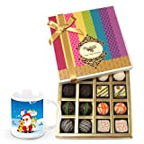 Pampering Assortment Of White And Dark Chocolate Box With Christmas Mug - Chocholik Belgium Chocolates