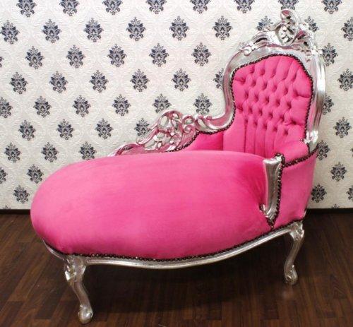 Barock Kinder Chaiselongue Rosa/Silver - Recamiere Barock Möbel
