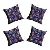 MeSleep Digitally Printed Abstract Micro Fabric 4 Piece Cushion Cover Set - Blue (CDEK-41-4)
