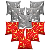 Leaves Patch Cushion Covers Combo Silver & Red 40 X 40 Cms(10 Pcs Set)