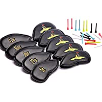 Golf Club Headcovers 30 Golf Tees This Is A Set Of 10 High Quality PU Leather Golf Iron Club Covers Featuring...