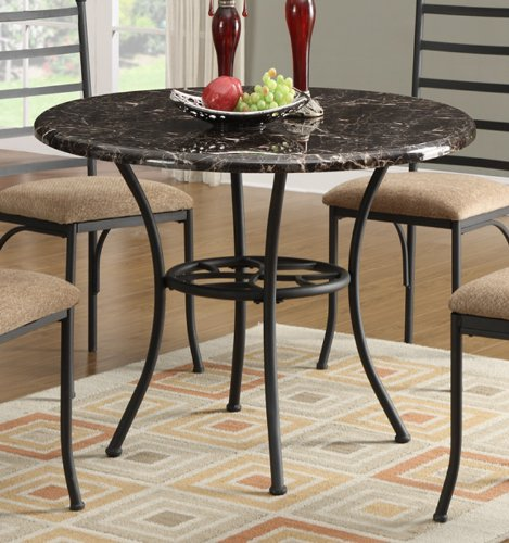 round metal top dining table dining table w marble top and black metal base by 7819