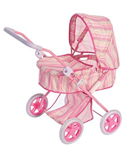 Amazon.com: Deluxe Baby Doll Stroller Pram for Dolls Pink