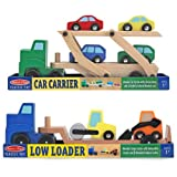 3 Item Bundle: Melissa & Doug 4096 Car Carrier Truck & Cars Wooden Toy Set And 4550 Low Loader Wooden Vehicles...