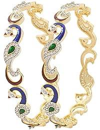YouBella Dancing Peacock American Diamond Gold Plated Bangles For Women - B01F98PX4U