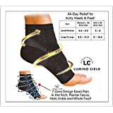 Lumino Cielo All-Day Compression Socks For Plantar Fasciitis Pain Relief Ankle Support - Sleeve Style (S/M, White)