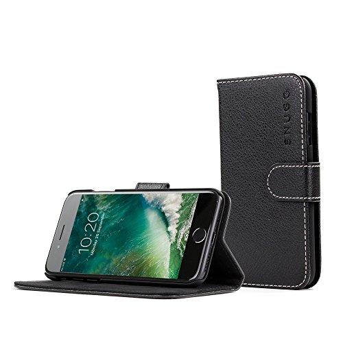 Coque iPhone 7 Plus, Snugg Apple iPhone 7 Plus Etui à Rabat [Emplacements Pour Cartes] Cuir Portefeuille Housse Désign Exécutif [Garantie à Vie] - Noi...