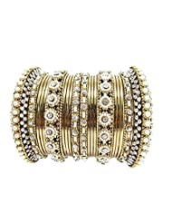 Aria Traditional Flower Design CZ Gold Plated 20pc New Bangles For Women L38