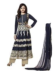 Designer Zari Work Semi Stitch Dress Material - B0196778HK