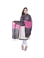 Soundarya Pink Black Bandhej Cotton Hand Work Dupatta