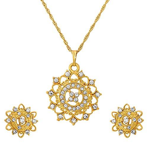 ILINA Golden Alloy Stud Jewellery Set For Women - B00Y8JJ5SC