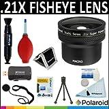 Polaroid Studio Series .21X HD Super Fisheye Lens + Cleaning & Accessory Kit For The Canon VIXIA HF G10, S30,...