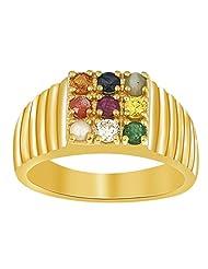 Ciemme 18 Kt Gold Plated Over 925 Sterling Silver Navratna CZ Ring For Men