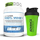 Advance 100% Whey Protein Powder 1kg( 2.2 Lbs) 10 Servings Chocolate With Odourfree Spillproof Whey Protein Shaker...