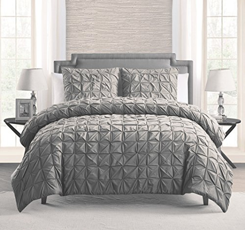 100 Cotton 3 Piece Solid Grey Pinch Pleat Duvet Cover