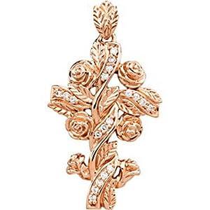 IceCarats Designer Jewelry 14K Rose Gold Floral Style Diamond Cross Pendant 1.35 Inch