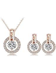 NiX 18K Rose Gold Plated Wedding Jewelry Set Crystal Set Pendant Necklace Earrings Stud Jewellery Set