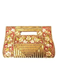 Bhamini Hand Held Clutch With Beads, Sequins And Thread Work (Red)