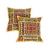 Rajrang Mustard Yellow Cotton Embroidered Kantha Mirror Work Patch Cushion Cover