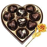 Valentine Chocholik Premium Gifts - Magic Selection Of Chocolates Box With 24k Gold Plated Rose