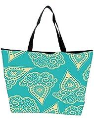 Snoogg Light Yellow Blue Pattern Designer Waterproof Bag Made Of High Strength Nylon
