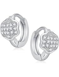 Meenaz White Silver Plated American Diamond Hoop Earrings For Women
