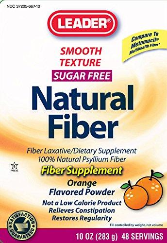Leader Fiber Laxative Powder, Smooth Texture Sugar Free Oran