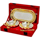 Silver And Gold Plated Floral Shaped Brass Bowl And Tray Set Of 5 Pcs