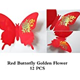SYGA 12Pcs 3D Decorative Red Butterfly With Golden Flowers Wall Stickers