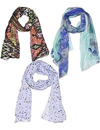 Weavers Villa Set Of 3 Premium Soft Summer Vibrant Coloured Trendy Scarf, Stoles, Dupattas - B01G0FS01O