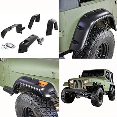 E-Autogrilles 87-95 Jeep Wrangler YJ Pocket Rivet Style Front + Rear Fender Flares (17191)
