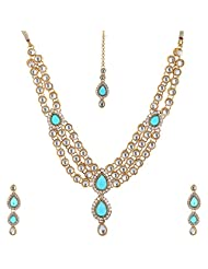 Lucky Jewellery Turquoise Gold Plated Kundan Jewellery Set For Women - B00SINF7VI