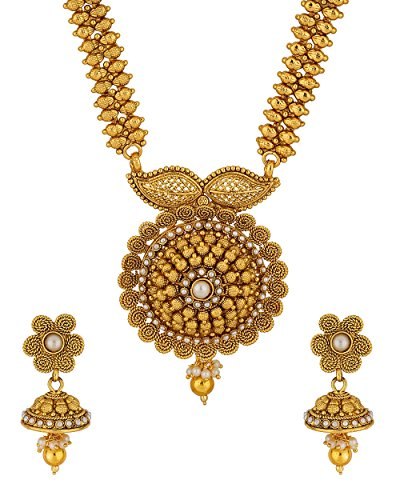 6bca49361a1c4 Voylla Designer Yellow Gold Plated Long Necklace Set For Valentine ...
