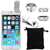 Ayamaya 3-in-1 Iphone Selfie Camera Lens Kits Fish Eye Lens + Wide Angle + Micro Lens Universal Clip Lens For Iphone 6s/6s Plus/6/6 Plus/5s (Silver)