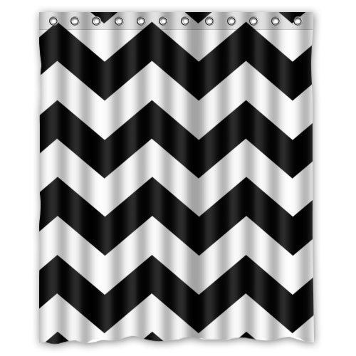 Gray and black chevron shower curtain curtain for Zig zag bathroom decor