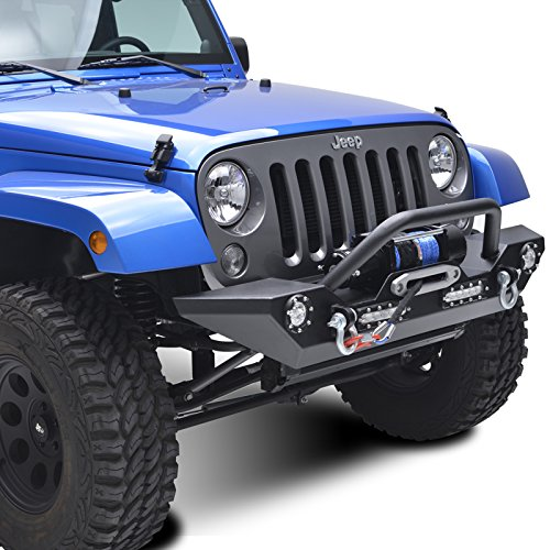E-Autogrilles 51-0308L 07-16 Jeep Wrangler JK Rock Crawler Front Bumper Built-In LED Lights with D-Ring-Textured Black