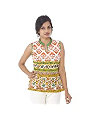 Parinita Women Orange Cotton Printed Short Top