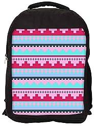 Snoogg Digit Aztec Pink Backpack Rucksack School Travel Unisex Casual Canvas Bag Bookbag Satchel