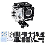 Homkm Q3H Basic 4K Full HD 1080p Action Camera MAX 30M Waterproof Camera 6 Glass LED Lens 170 Wide Angle Silver...