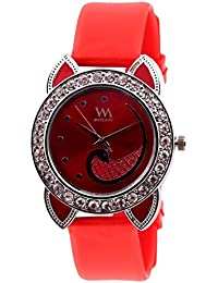 WATCH ME SILICON RUBBER MULTICOLOR PINK RED GOLD SILVER WATCH FOR WOMEN AND GIRLS WM-091-R