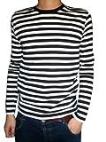 T-Shirt Herren Langarm Gestreift Schwarz Weiß Indie Stil S